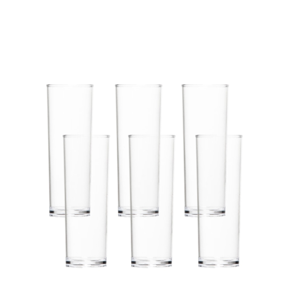 Kit c 8 Copos Long Drink em PP e 8 Canudos em Aço Inox