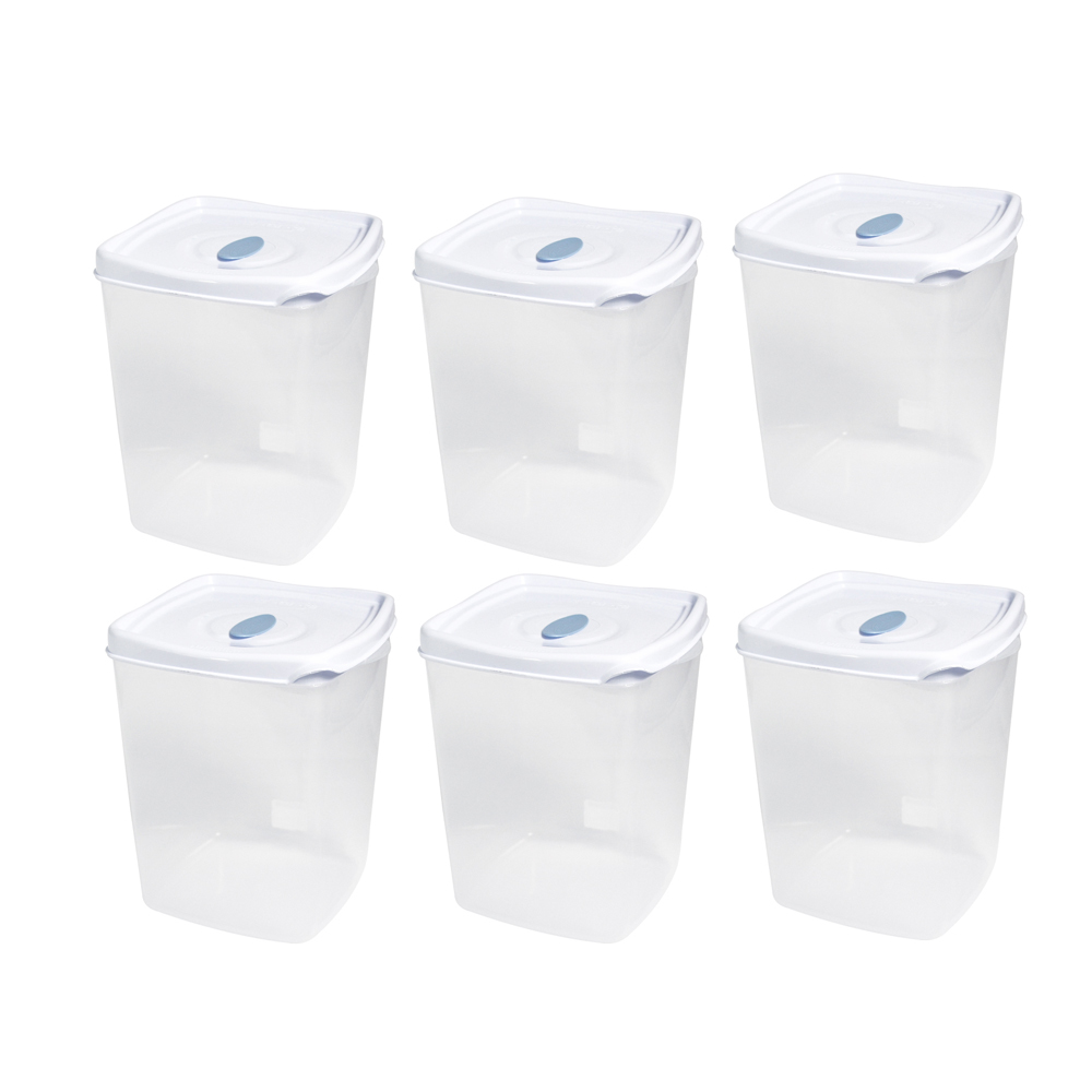 Kit c/6 Potes Freezer/Microondas 2,3 Litros Branco Plasvale