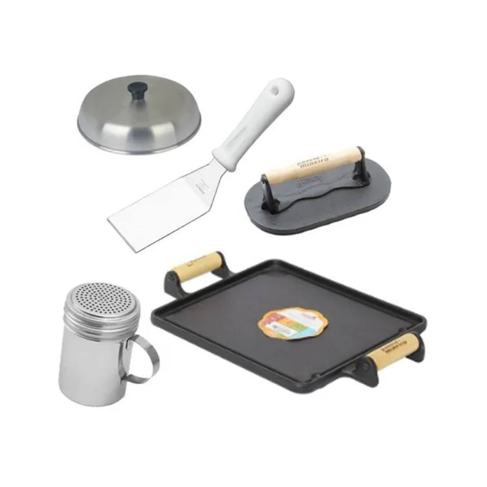 Kit Chef Hamburgueiro Artesanal E Chapa De Ferro E Dispenser