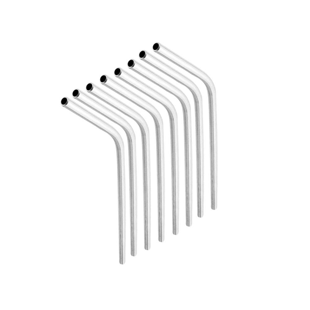 Kit com 8 Canudos Curvados em Aço Inox 21cm  6mm + Escova de Limpeza Frigopro