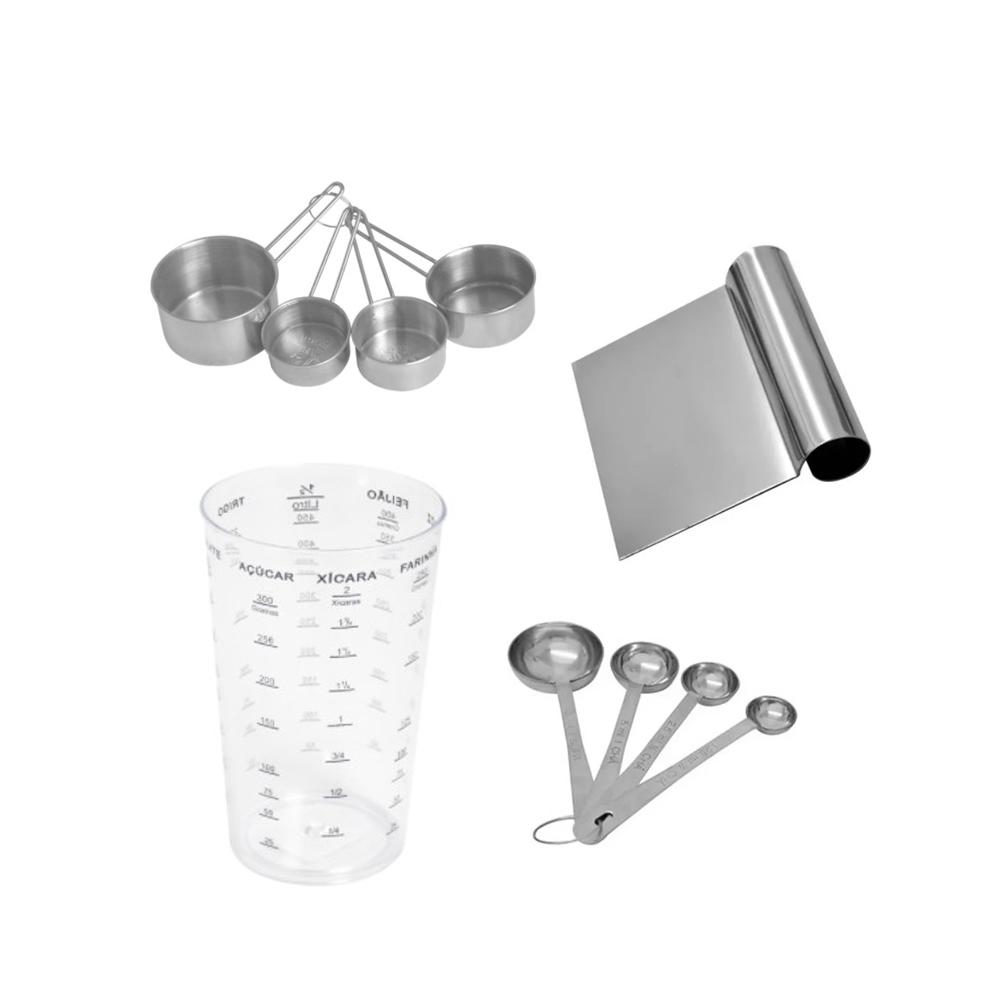 Kit Medição Para Confeitaria Com Espátula Raspadora Em Aço Inox Frigopro