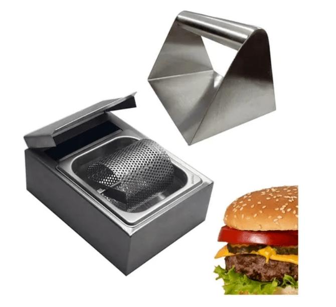 Kit Prensador de Hamburguer Smash Inox + Manteigueira Profissional Aço Inox Frigopro