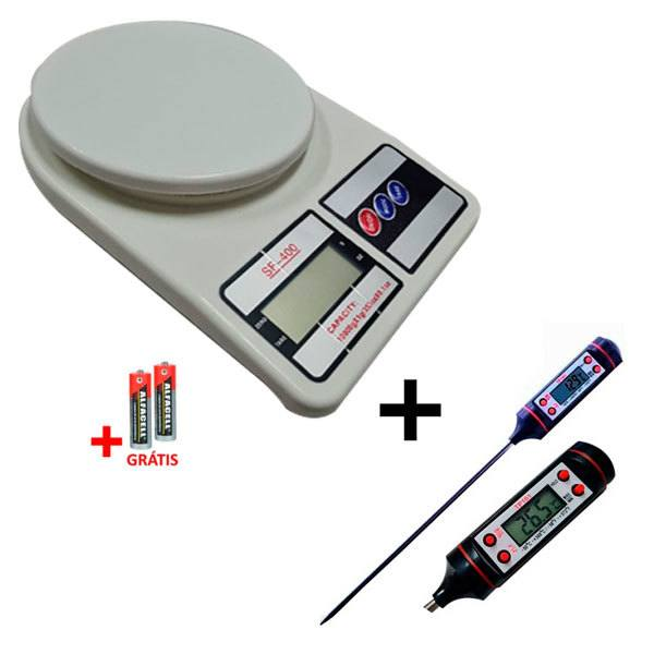 Kit Termômetro Culinário Digital Espeto + Balança de Precisão 10kg