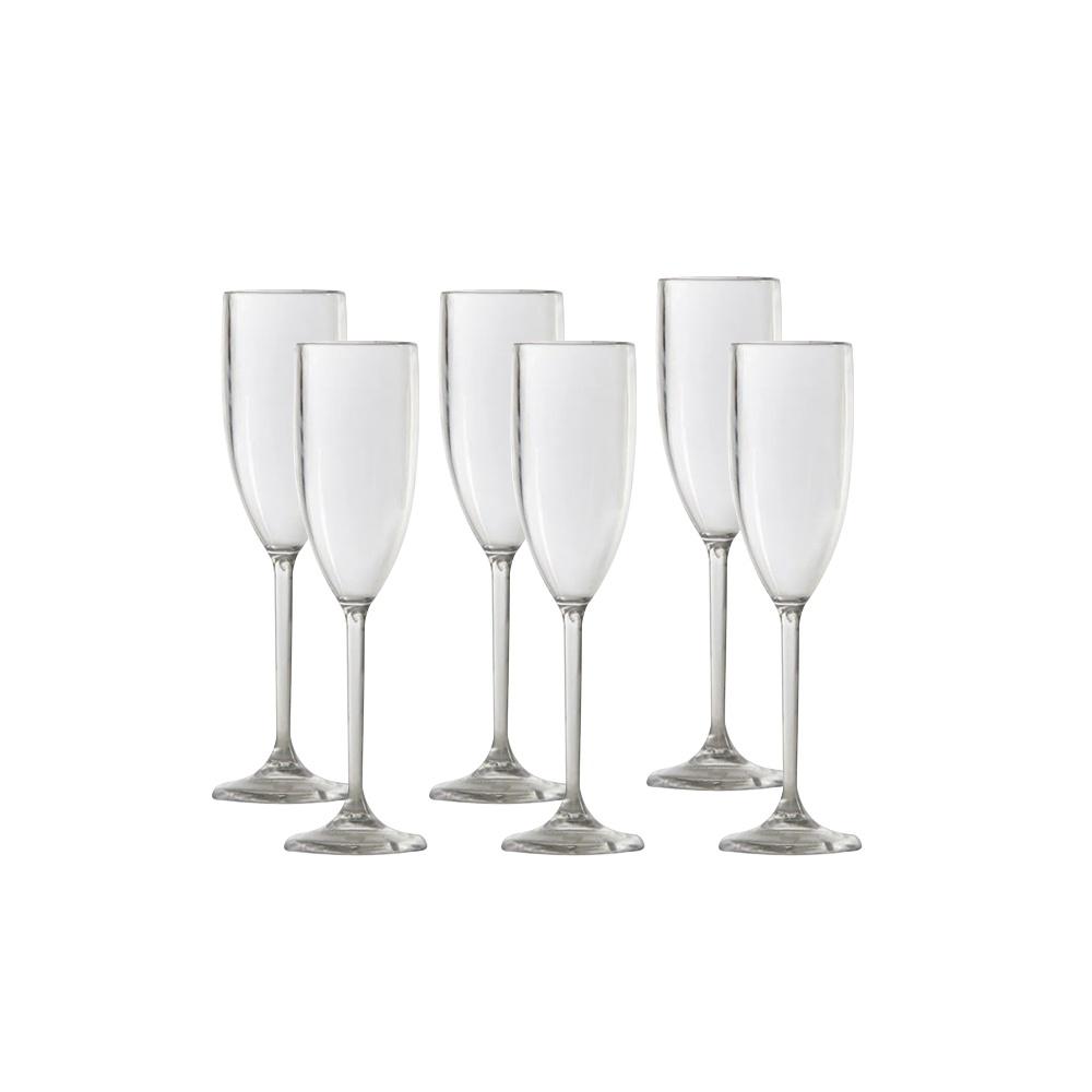 Taça Champagne em Policarbonato 150ml Vemplast Kit 6 Peças