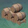 Neat Stack of Fir Kegs