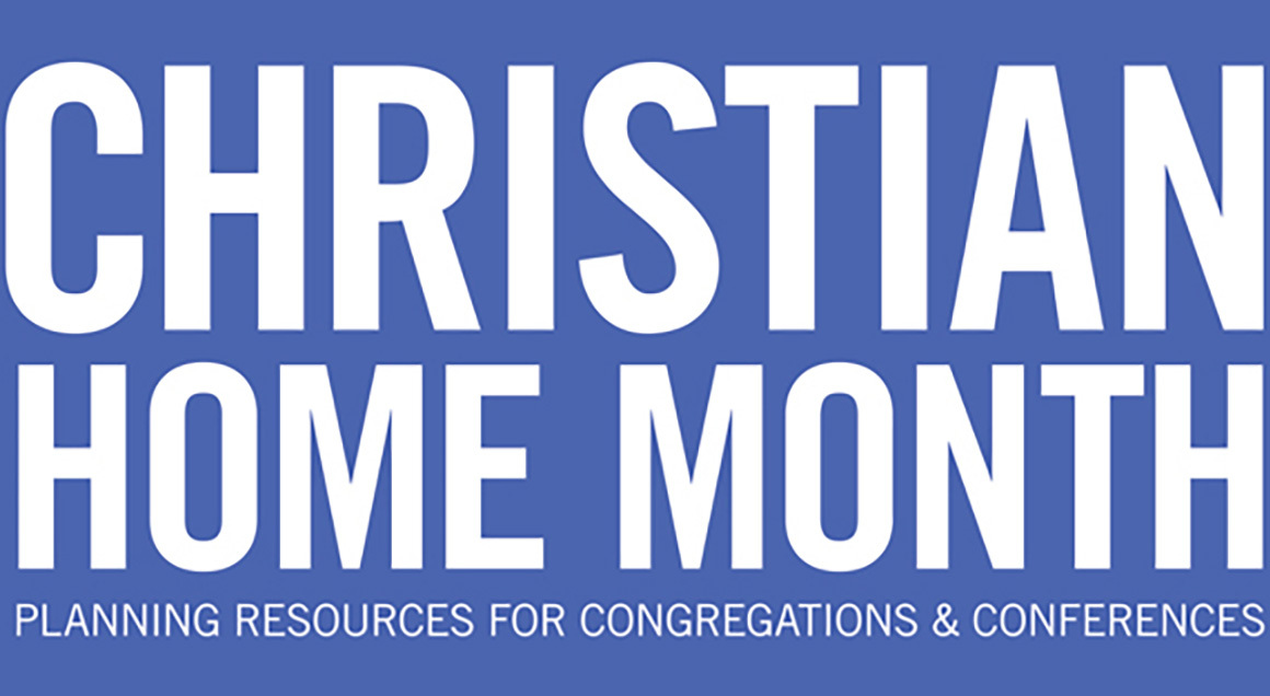 Christian home month generic blue background