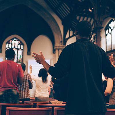 Congregation in church 400x400