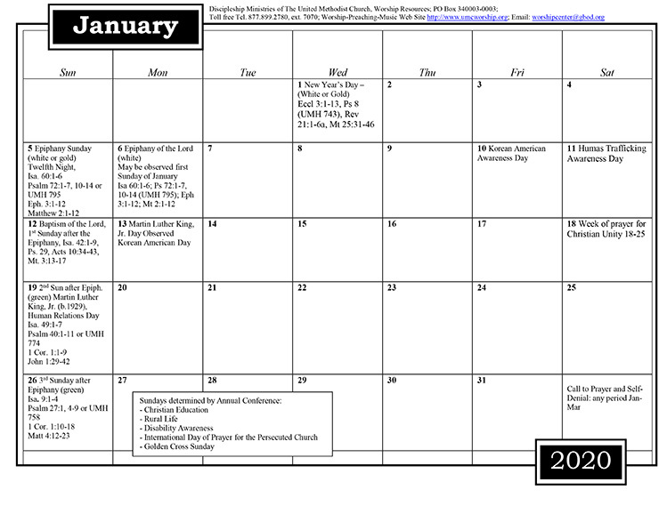 Discipleship Ministries | 2020 Worship and Music Planning Calendar