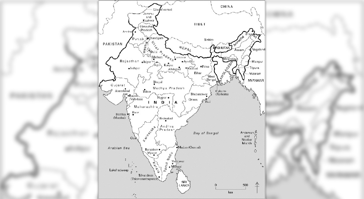 Map of india with background