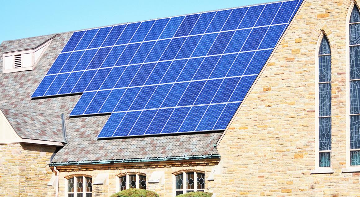 Solar panels on church roof 72px