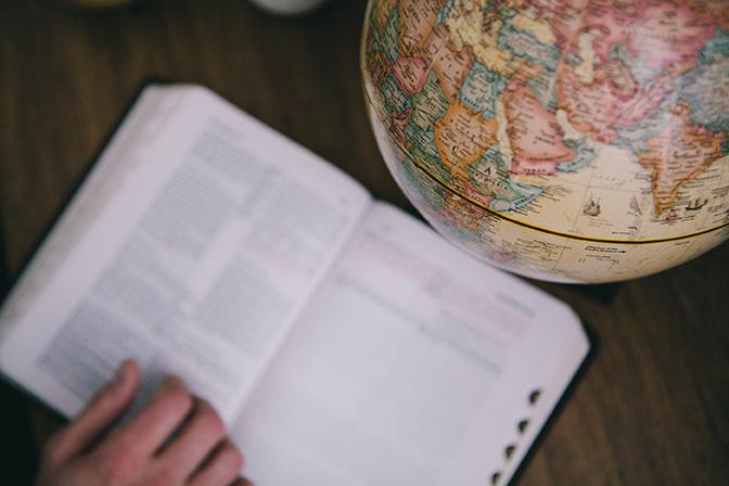 Stock bible and globe