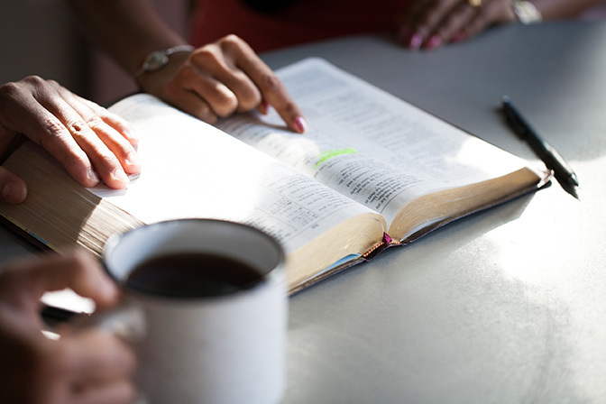 Stock bible study with coffee