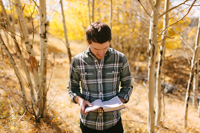 Stock man reading bible in woods