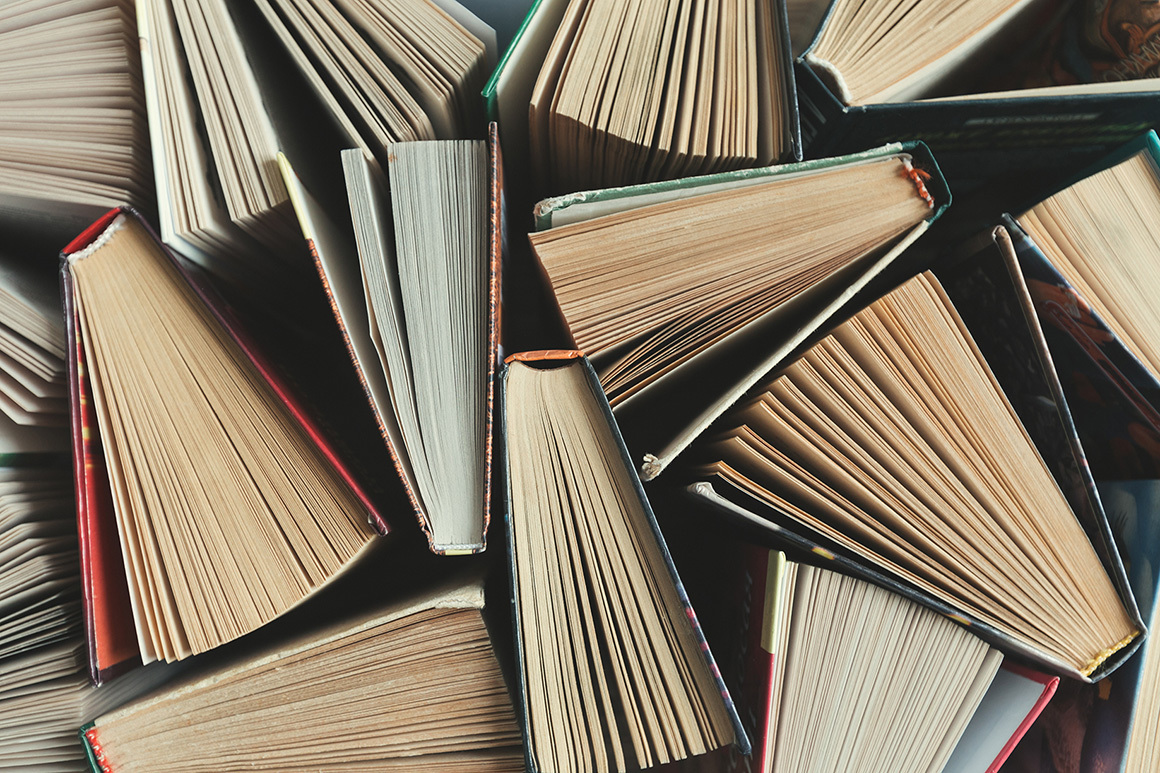Stock overhead view of books