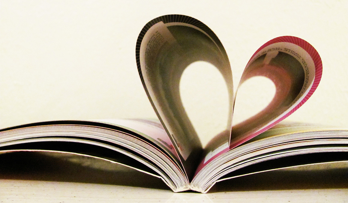 Stock pages making heart shape