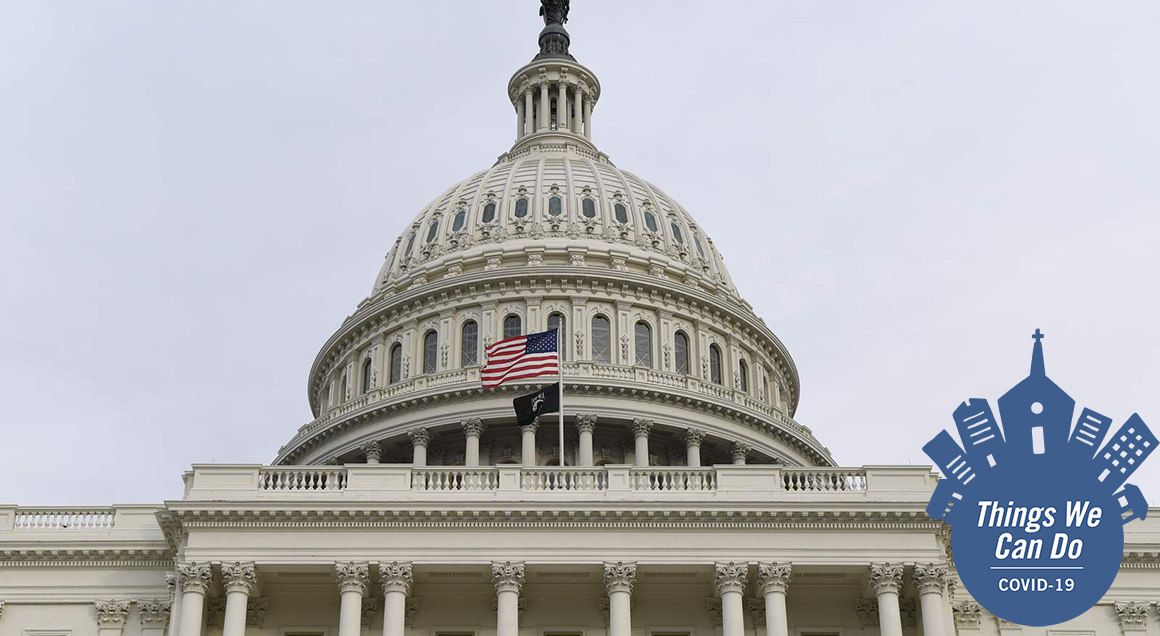Us capitol with covid badge