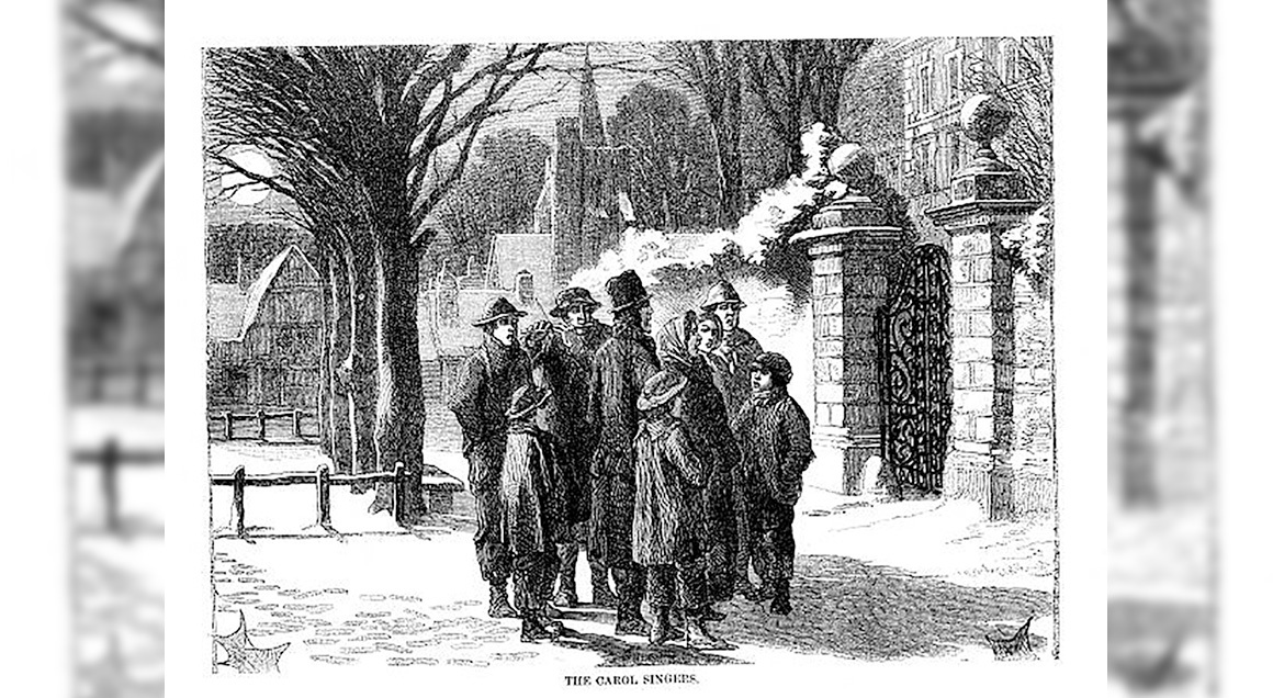 Victorian carolers with background