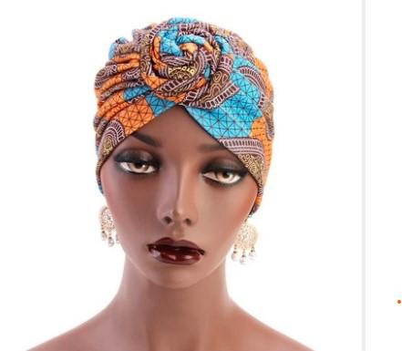African Turban Orange and Aqua Blue