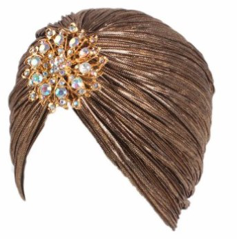 Indian Gold Turban with Brooch
