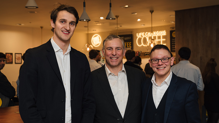 Left to right: James Campbell Adamnson, Tom Finke (Barings Global CEO who is a backer of Change Please) and Cemal Ezel (Founder of Change Please)
