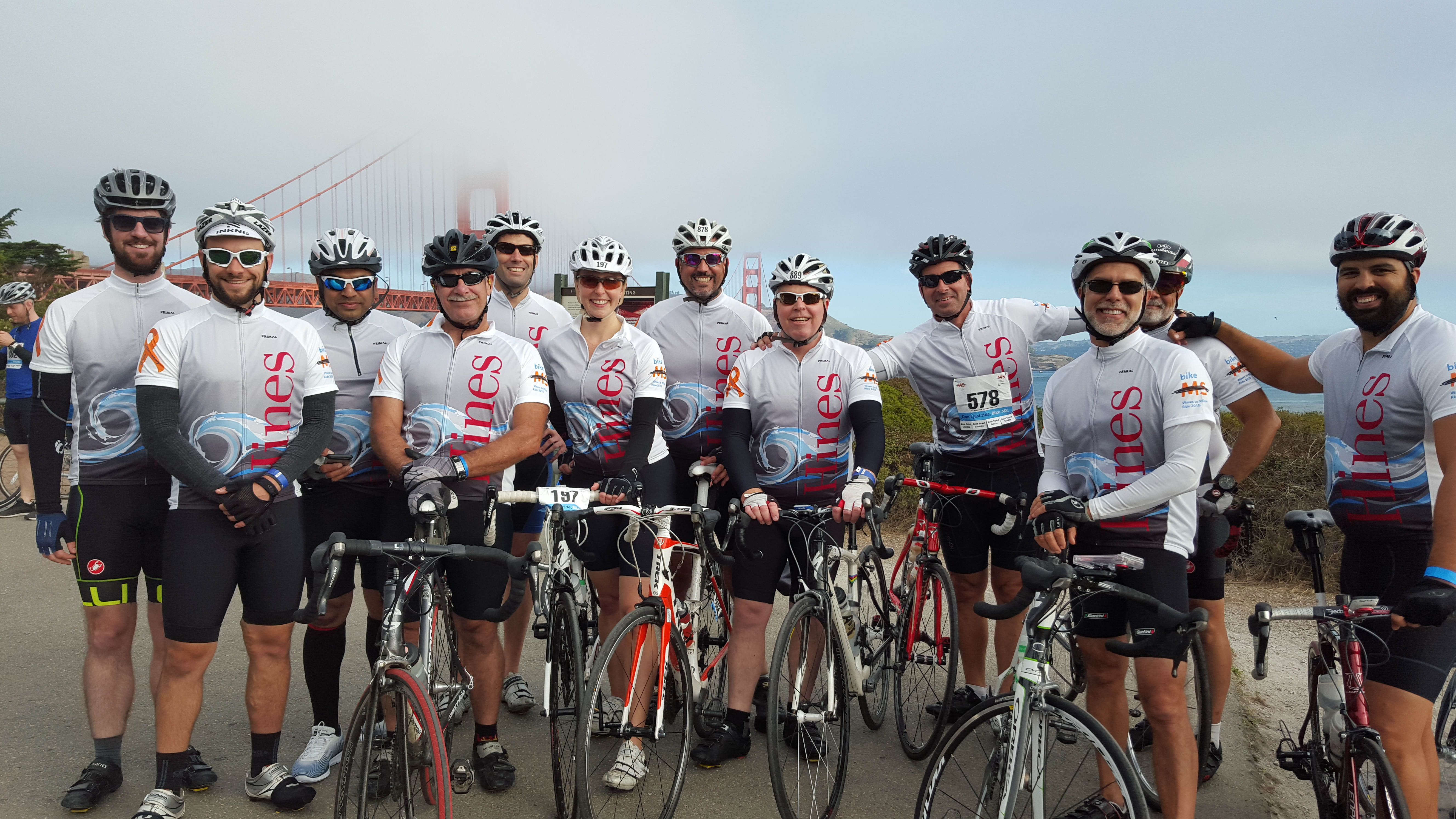 The Hines team at the Waves to Wine ride