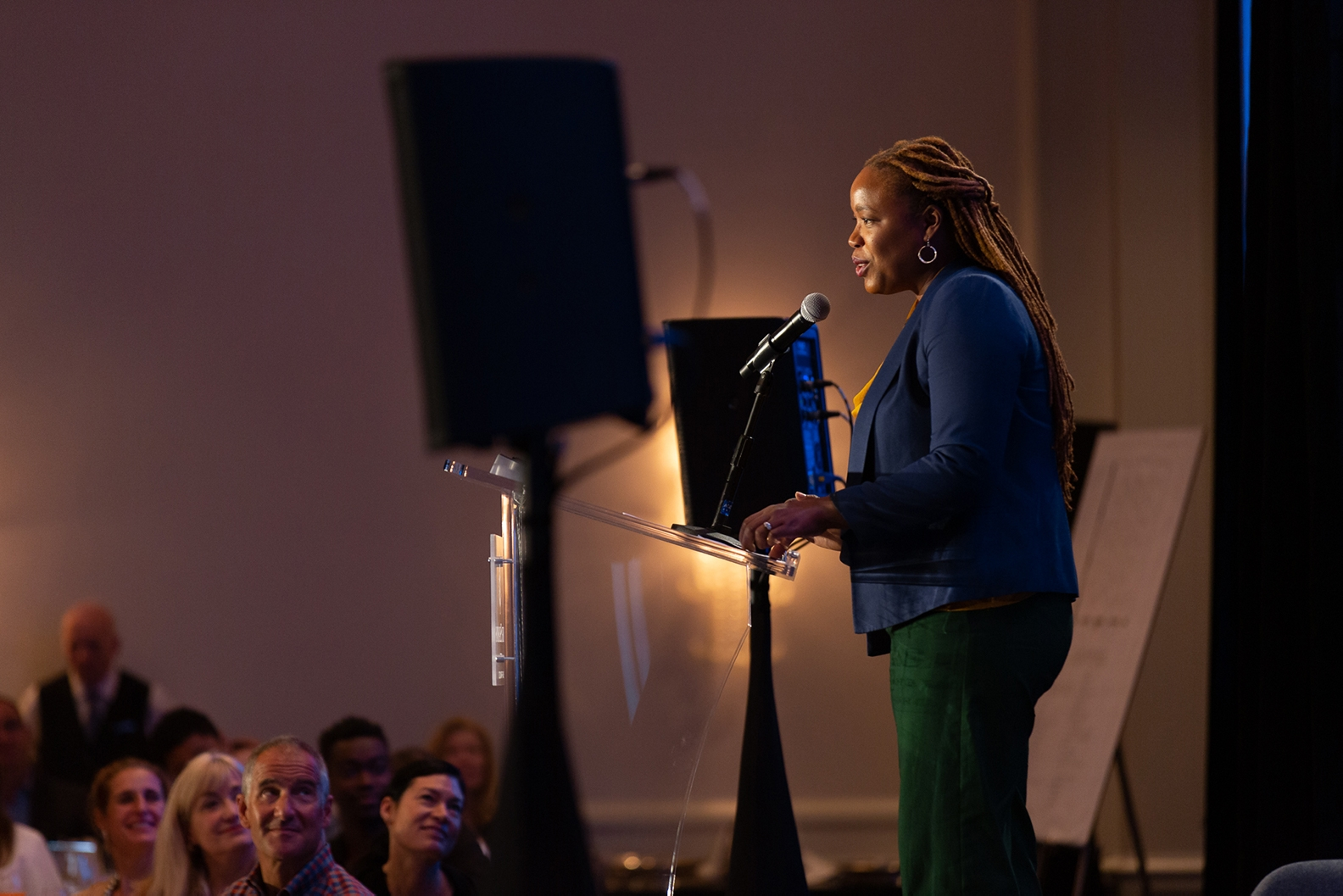 Heather McGhee delivering her keynote speech at the San Francisco event.
