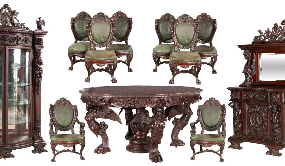 Monumental R.J. Horner Figural Mahogany Set Sold for $100,300
