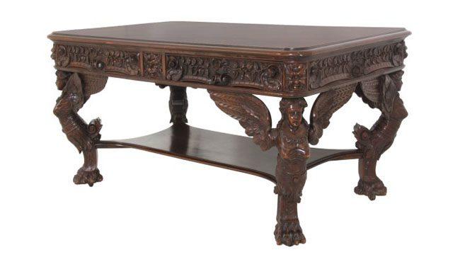 R.J. Horner Winged Maiden Mahogany Partners Desk