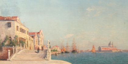 antique painting of town and and harbor