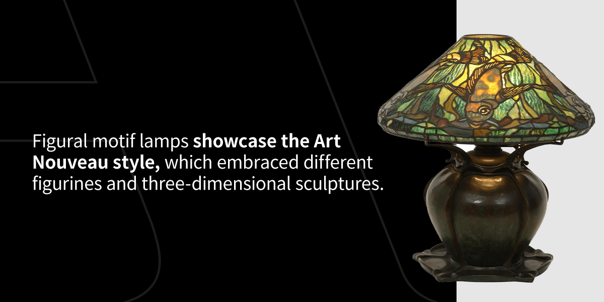 figural motif lamp: Tiffany Studios leaded glass aquatic fish lamp