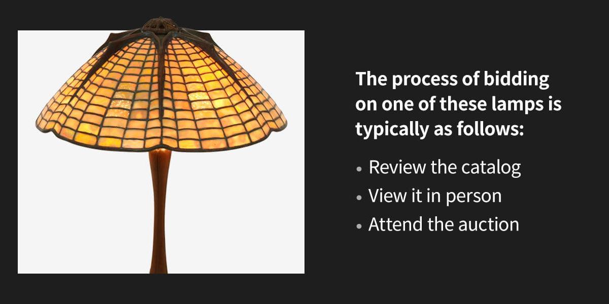 lamp bidding process and Tiffany Studios Lamp