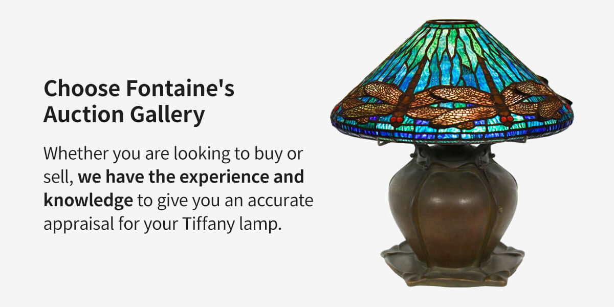 Choose Fontaine's Auction Gallery and dragonfly Tiffany Studios Lamp