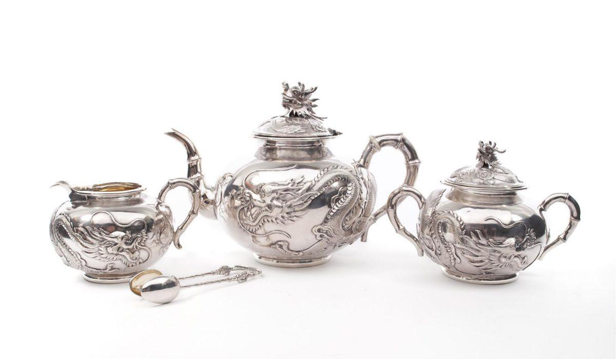 WANG HING CHINESE EXPORT SILVER TEA SERVICE