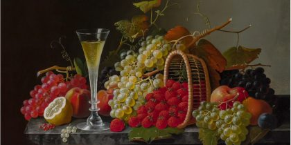 Still Life of Fruit with Goblet of Flowers by Severin Roesen