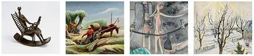 artwork by Benton, Moore, Burchfield, Matta, and Poliakoff