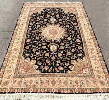 TABRIZ HAND KNOTTED RUG WITH SILK HIGHLIGHTS AND 200+ KPSI – 6.1 x 9.0