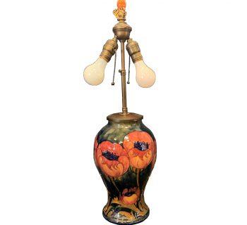 """Moorcroft """"Big Poppy"""" Vase Lamp"""