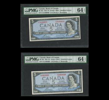 Bank of Canada Consecutive 1954 $5 Notes UNC 64