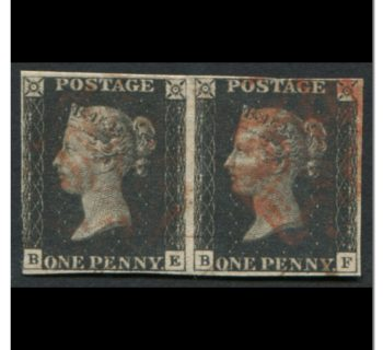 Great Britain 1840 #1 1 Penny Black Imperf Pair