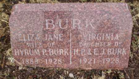 BURK, ELIZA JANE - Apache County, Arizona | ELIZA JANE BURK - Arizona Gravestone Photos