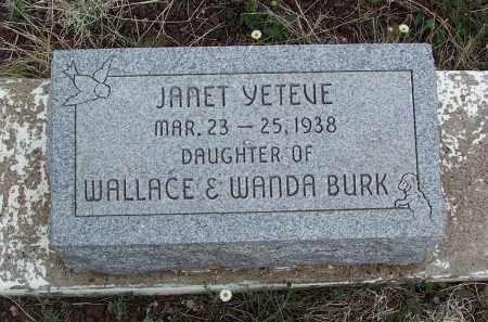 BURK, JANET YETEVE - Apache County, Arizona | JANET YETEVE BURK - Arizona Gravestone Photos