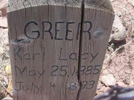 GREER, KARL LACY - Apache County, Arizona   KARL LACY GREER - Arizona Gravestone Photos
