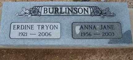 BURLINSON, ANNA JANE - Cochise County, Arizona | ANNA JANE BURLINSON - Arizona Gravestone Photos