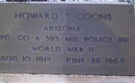 COONS, HOWARD T - Cochise County, Arizona | HOWARD T COONS - Arizona Gravestone Photos