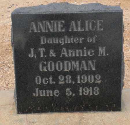 GOODMAN, ANNIE ALICE - Cochise County, Arizona | ANNIE ALICE GOODMAN - Arizona Gravestone Photos