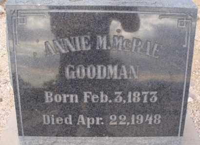 MCRAE GOODMAN, ANNIE M. - Cochise County, Arizona | ANNIE M. MCRAE GOODMAN - Arizona Gravestone Photos
