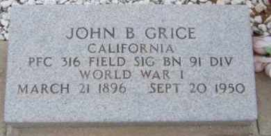 GRICE, JOHN B - Cochise County, Arizona | JOHN B GRICE - Arizona Gravestone Photos