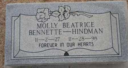 BENNETTE HINDMAN, MOLLY BEATRICE - Cochise County, Arizona | MOLLY BEATRICE BENNETTE HINDMAN - Arizona Gravestone Photos