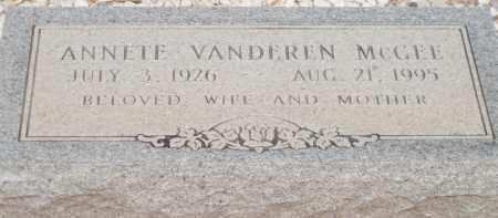 MCGEE, ANNETE VANDEREN - Cochise County, Arizona | ANNETE VANDEREN MCGEE - Arizona Gravestone Photos