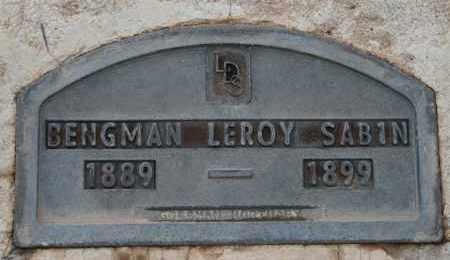 SABIN, BENGMAN LEROY - Cochise County, Arizona   BENGMAN LEROY SABIN - Arizona Gravestone Photos